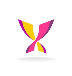 Butterfly bright colors elegant logo Two vector image