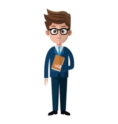 cartoon business man glasses folder suit style vector image