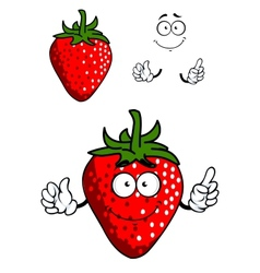 Cartoon fresh red strawberry vector image vector image