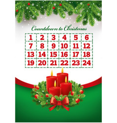 christmas advent calendar with wreath and candles vector image