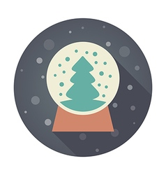 Christmas snow globe with a tree inside flat icon vector image