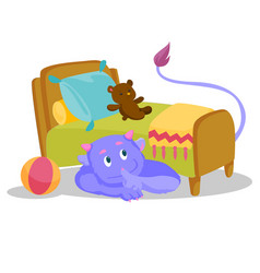 Cute purple monster with tail hiding under the bed vector