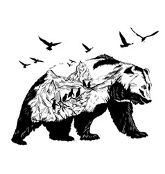 Double exposure bear and polar pole and glaciers vector