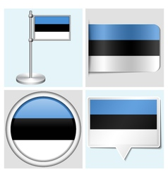 Estonia flag - sticker button label flagstaff vector image vector image