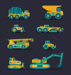 Flat icons set of construction vehicles vector