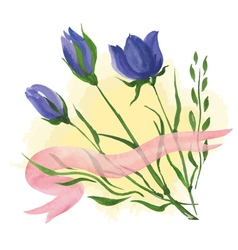 Flowers and ribbon vector