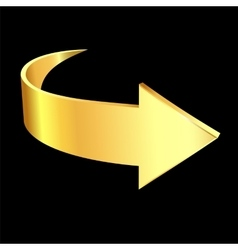 Gold arrow on black background vector image vector image