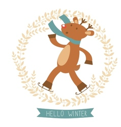 Hello winter card with cute deer boy ice skating vector