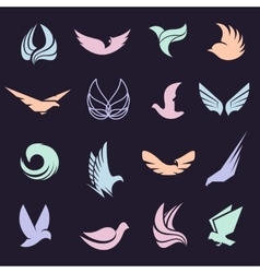 Isolated abstract colorful birds and butterflies vector
