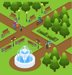 Isometric summer park concept vector