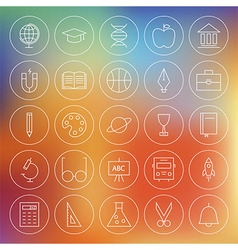 Line circle school education and science icons set vector