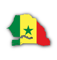 map and flag of senegal vector image vector image