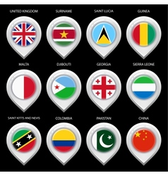 Map marker with flag-set fourth vector image