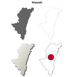 Miyazaki blank outline map set vector