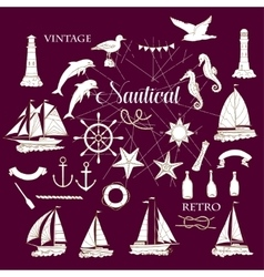 Nautical set with ships vector image vector image