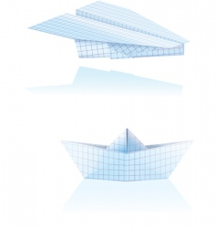 paper boat and plane vector image