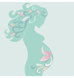 pregnant woman with vintage ornament in turquoise vector image