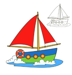 Sailing vessel Coloring book page vector image vector image