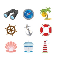 Sea icons vector image vector image