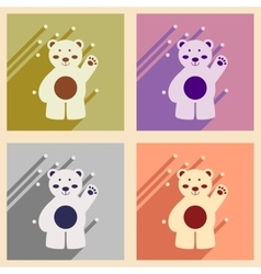 Set of flat icons with long shadow northern bear vector