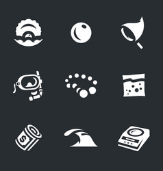 set of pearl farm icons vector image vector image