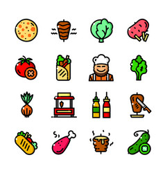 shawarma icons set vector image