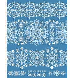 Snowflakes seamless borderWinter pattern lace vector image vector image