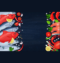 The fishes and seafood vector