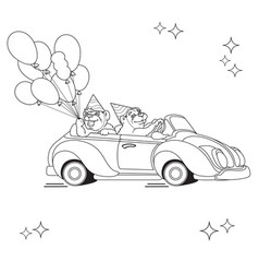 Two funny bears on toy car black line on whi vector