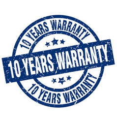 10 years warranty blue round grunge stamp vector