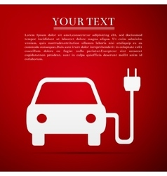 Electric powered car symbol flat icon on red vector image