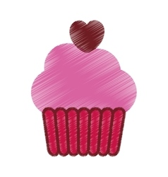 drawing pink cup cake heart party vector image