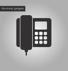 black and white style icon office phone vector image