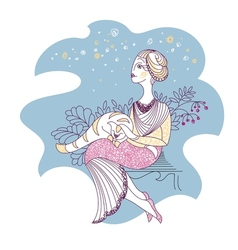card with woman and cat vector image