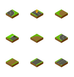 Isometric way set of down way asphalt and other vector