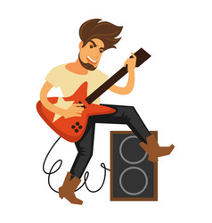 rock musician with long hair plays electric guitar vector image