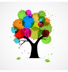 Abstract Tree With Colorful Blobs Splashes vector image