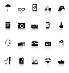Travel luggage preparation icons with reflect on vector