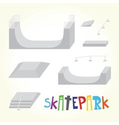Skatepark isolated parts vector