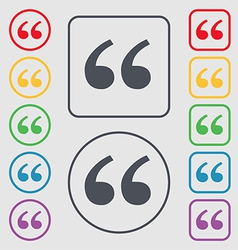 Double quotes at the beginning of words icon sign vector