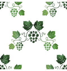 Watercolor style green grape vines seamless vector