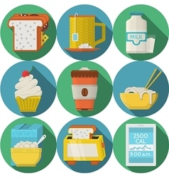 Flat round icons for daily products vector