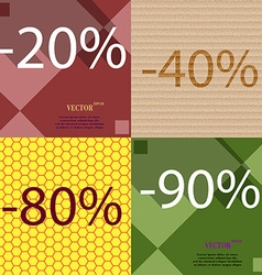 40 80 90 icon set of percent discount on abstract vector