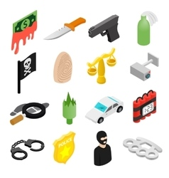 Crime isometric 3d icons vector