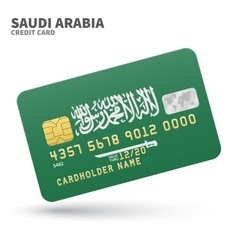 Credit card with saudi arabia flag background for vector