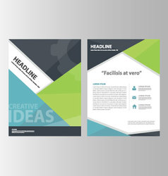 Blue green annual report brochure flyer leaflet vector image