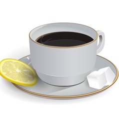 Tea with lemon saucer vector