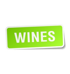 Wines green square sticker on white background vector