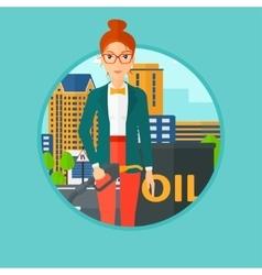 Woman with oil barrel and gas pump nozzle vector
