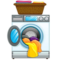 Clothes in washing machine vector